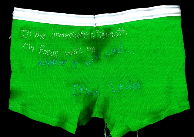 The text is embroidered on bright green underwear using light green and light blue thread